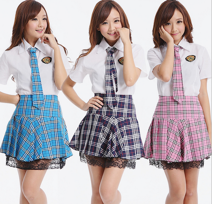 New-2014-Japanese-School-Uniform-Set-Girls-White-Shirt-and-Red-Plaid-Skirt-School-Clothes-Preppy